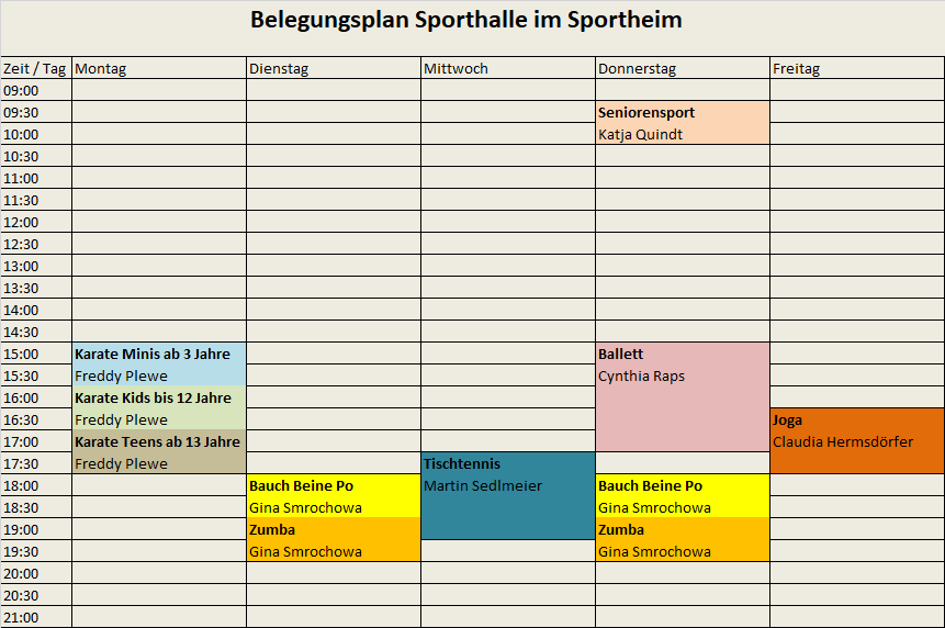 Belegungsplan Turnhalle Sportheim